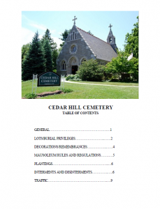 cedar hill cemetery hartford ct - cover page rules_regulations