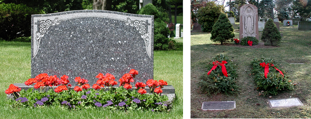 cedar hill cemetery flowerbed-wreaths combination